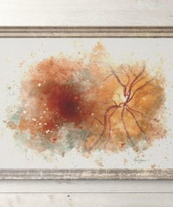 Retina Anatomy Watercolor frame on wood floor